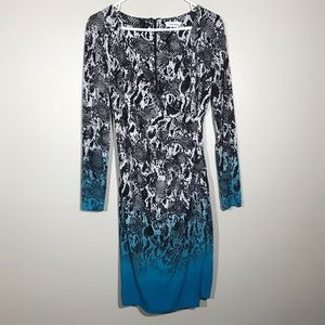 Calvin Klein Snakeskin Print Ombre Dress 8
